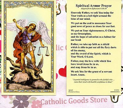 St Michael the Archangel with Spiritual Armor Prayer  - Paperstock Holy Card