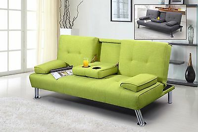 Modern Cool 2 / 3 Seater Small Single Sofa Bed Lime Green / Grey Fabric