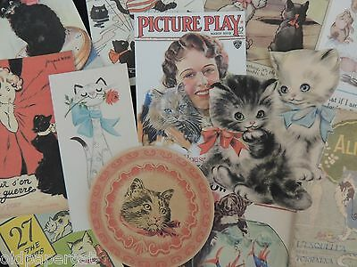 Lot of 12 ADORABLE VINTAGE CAT Advertising DIE CUTS for CRAFTS | A10 | CATS