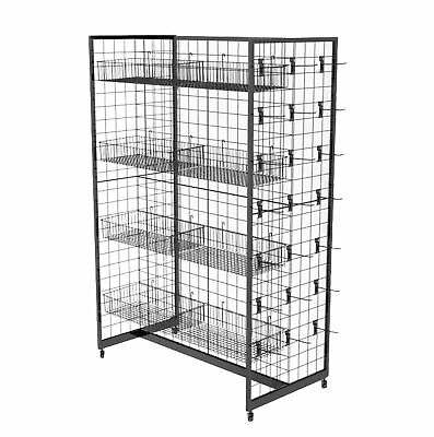 "Wire Gridwall Fixture Display 12 Baskets 50 6"" Peg Hooks Gondola Commerical"