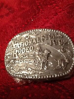 1992 National Finals Rodeo Hesston Metal Western Belt Buckle