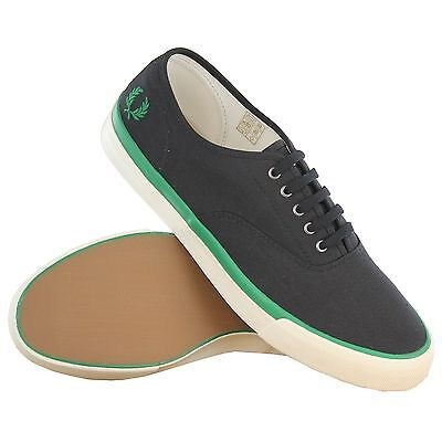Fred Perry Clarence Twill Black Men's Trainers Size UK-7 Genuine B4252-102