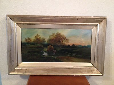 Antique Late 19th Early 20th Century Landscape Oil Painting w/ Horse Drawn Wagon
