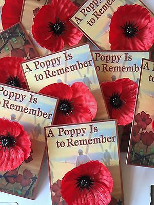 Silk Poppy Lapel Pin Wear Remembrance Day-With butterfly Clutch