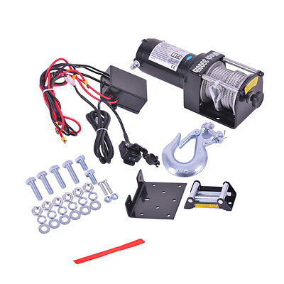Electric Recovery Winch Rope Hoist Manual Control 4WD ATV Truck Boat 12V 3000LB