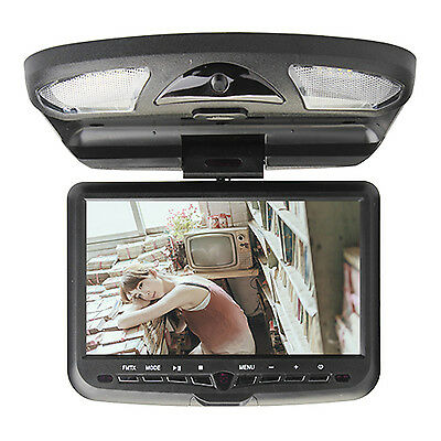 "Gray 9"" LCD Roof Mount Car Stereo DVD Player 32 BIT Games Radio IR Headphones"