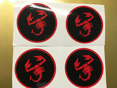 ABARTH Scorpion Wheel Centre Stickers/Decals x4 50mm diameter