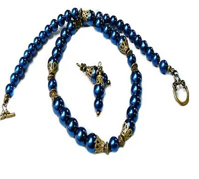 Necklace earrings set, Dark Navy Blue pearl, any fittings, vintage style bronze