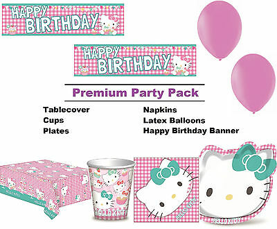 Hello Kitty 8-48 Guest Premium Party Pack - Tablewear | Banner | Balloons