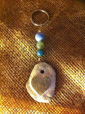 Handvcarved Pebble heart Keyring, Can be Personalized, Ideal Wedding anniversary