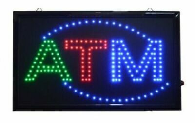 """LARGE Animated LED ATM LED Neon Sign Bright Restaurant Store 21"""" X 13"""" #059"""