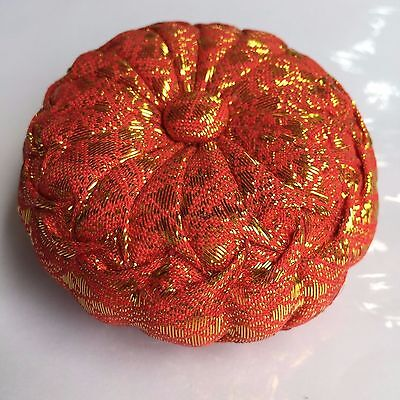 Pin Cushion Orange Pillow Needle Sewing Thai Handcraft Original Tiny Scale