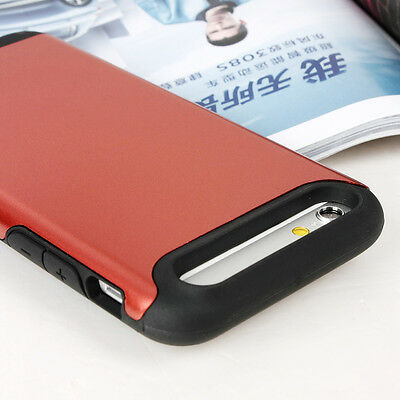 """Red For Apple iPhone 6 4.7"""" Shorkproof Hybrid Hard Soft Rubber Skin Case Cover"""