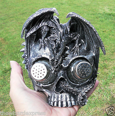Mystical Gothic Black Dragon on Skull with Salt & Pepper Jars  (16cm )(New Age)