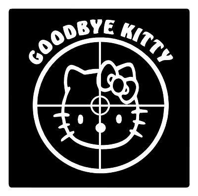 Hello Kitty Goodbye Kitty Crosshair Hunting Sniper 6X5 Car Window Decal Sticker