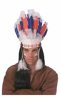 Indian Headdress Mohawk Native American Chief Feather Fancy Dress Accessory
