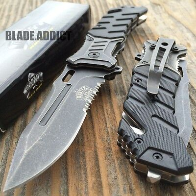 "8"" BALLISTIC MILITARY Tactical Combat Spring Assisted Open Pocket Rescue Knife B"