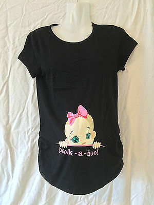 Maternity Tee Top Peek A Boo Size 10 12 14 16 18 Clothes Pregnant Funny Baby NEW