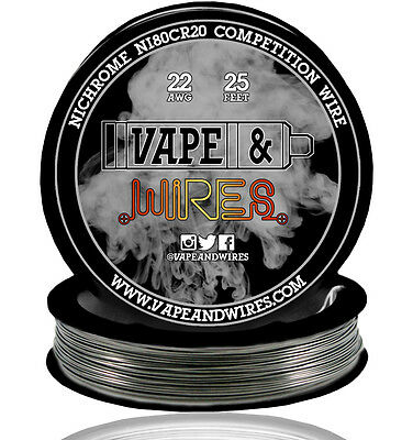 Vape and Wires Nichrome 80 Ni80Cr20 Competition Wire 22 Gauge AWG 25ft Roll