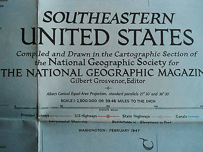 Old School Wall Map- South Eastern United States  - National Geographic