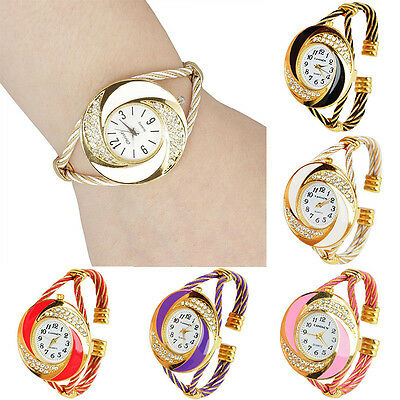 Womens Fashion Round Crystal Bangle Cuff Analog Quartz Bracelet Wrist Watch NEW