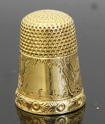 9Carat Yellow Gold Patterned Thimble (Approx 22x16mm)