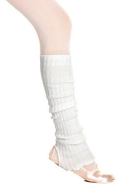 10x Pairs Of White 60cm Stirrup Legwarmers Dance Ballet Seconds By Katz