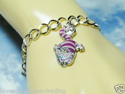 DISNEY CHESHIRE CAT SILVER PLATED CHARM BRACELET/Alice in Wonderland