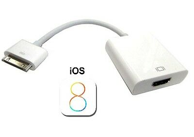 IOS8 1080P Dock Connector to HDMI TV Adapter Cable Lead For iPhone 4s  iPad 2 3