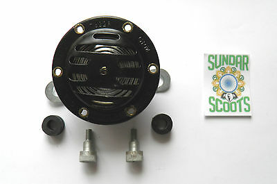 12 Volt Ac Milano Style Horn & Fixings. Black.suitable For Lambretta Scooters
