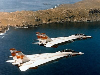 Us Navy F-14A Tomcats 8X10 Photo In Flight Out Of Usnas Miramar Vf-1 Plane
