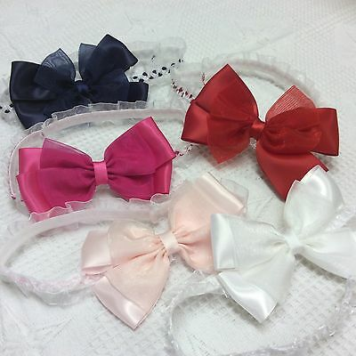 Baby Girls Elasticated Headband Satin and Organza Bow