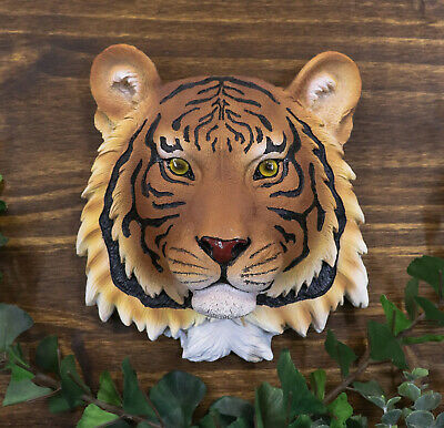 Orange Bengal Tiger Hunter Wildlife Resin Wall Plaque Statue Home Decorative