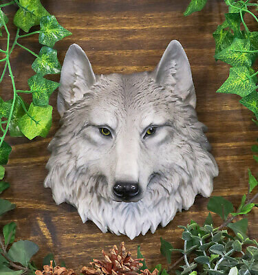 Hunting Grey Wolf Bust Wildlife Resin Wall Plaque Statue Home Collectibles