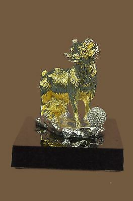 Gold & Silver Plated Aries Ram Figurine Sheep Sculpture Zodiac Collectible Gift