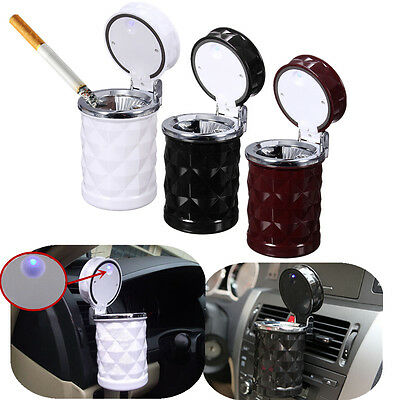 LED Portable Auto Car Cigarette Ash Ashtray Smokeless Stand Cylinder Cup Holder