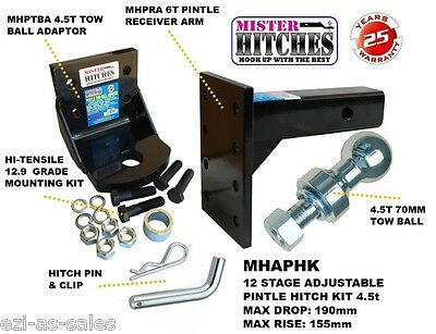4.5T 4500kg ADJUSTABLE PINTLE TOWING HITCH KIT 12 STAGE - TOW BAR TRAILER TOWING