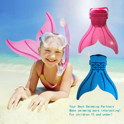 Kids Mermaid Mono Pink or Blue Fin Flippers Swimming  Toy Pablo Mermaid Tails