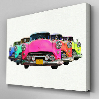 Cars352 Multi Cadillac White Walls Canvas Art Ready to Hang Picture Print