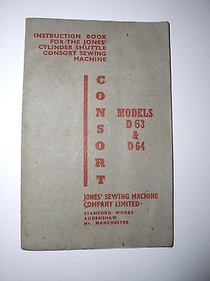 Jones Consort D63 D64 shuttle sewing machine instructions booklet Good condition • EUR 3,23