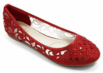 1be9e33517268d Women Shoes Ballet Flat Shoes Lace Rhinestone Flat Loafer Casual Shoes - Red