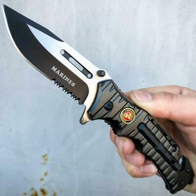 TAC FORCE Spring Open Assisted SAWBACK BOWIE Camping Rescue Pocket Knife