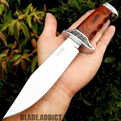"10""  Stainless Steel Survival Skinning Hunting Knife Wood Bowie Camping Skinner"