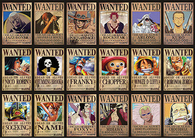 Sticker Autocollant Poster A4 Manga One Piece. Wanted Luffy Team Multi-Persos