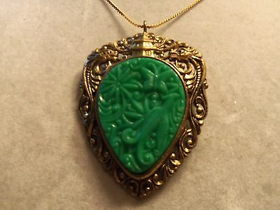 BEAUTIFUL Vintage ASIAN Design Gold Setting w/ JADE GREEN Brooch/Necklace 15N419