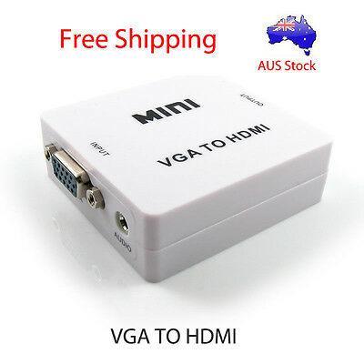 VGA to HDMI Female to Female Video Adapter Cable Converter with Audio HD 1080P