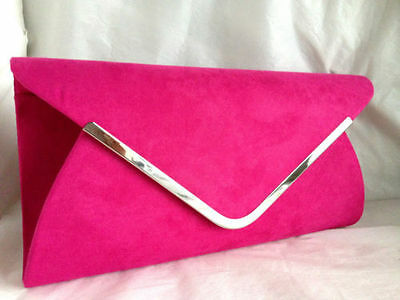 New Fuschia Pink Faux Suede Evening Day Clutch Bag Wedding Club Prom Xmas Party