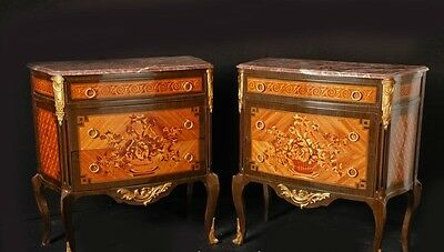 Pair French Empire Chests Drawers Cabinets Stands Inlay