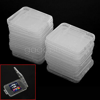 20 Pcs Plastic Clear Memory Card Storage Carry Case Holder For Standard SD SDHC