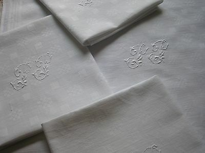 "ANTIQUE FRENCH DAMASK NAPKINS - SET OF 4 NAPKINS - Large Monogram ""PP"""